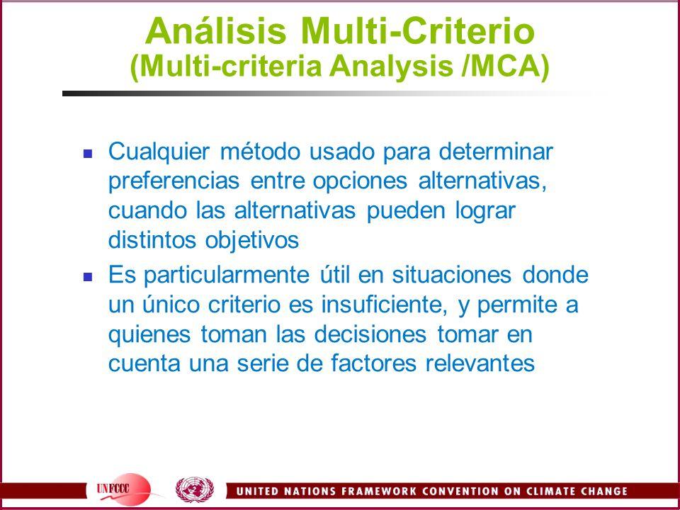 Análisis Multi-Criterio (Multi-criteria Analysis /MCA) Cualquier método usado para determinar preferencias entre opciones alternativas, cuando las alt