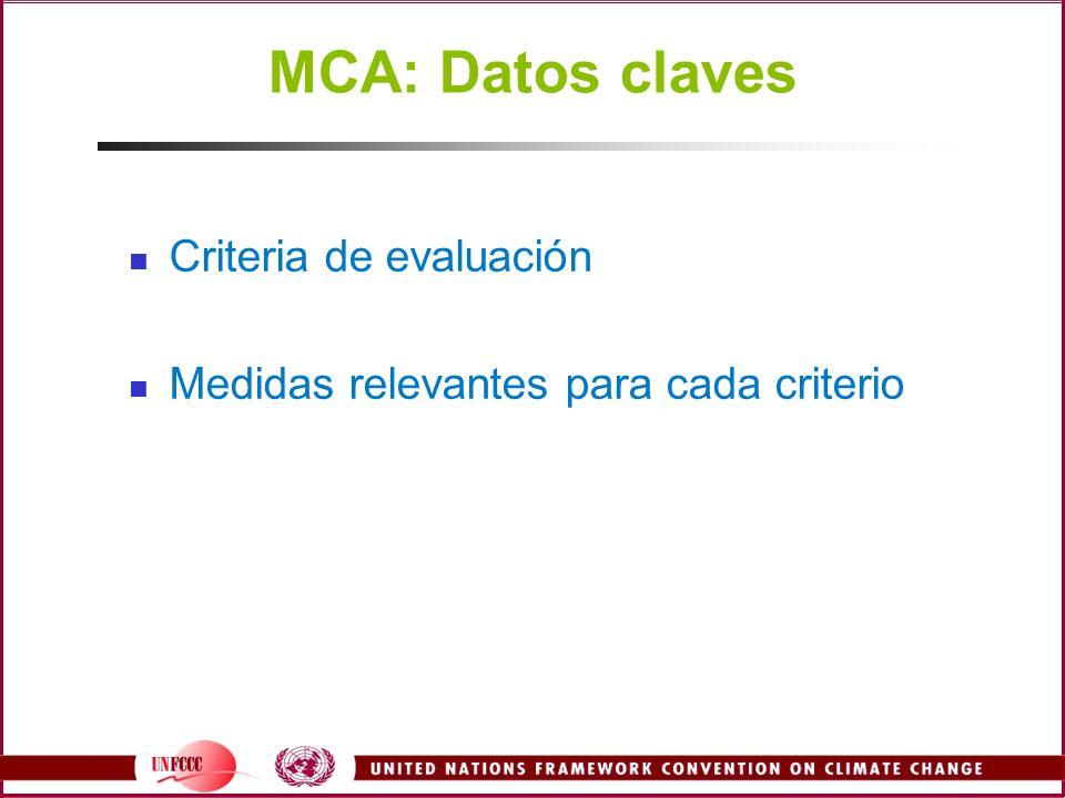 MCA: Datos claves Criteria de evaluación Medidas relevantes para cada criterio