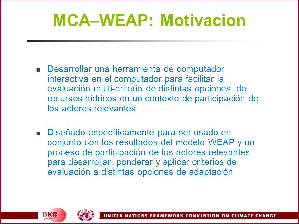 MCA–WEAP: Motivacion Desarrollar una herramienta de computador interactiva en el computador para facilitar la evaluación multi-criterio de distintas o