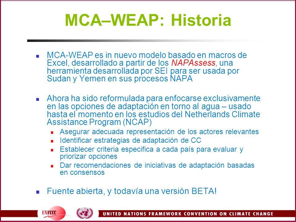MCA–WEAP: Historia MCA-WEAP es in nuevo modelo basado en macros de Excel, desarrollado a partir de los NAPAssess, una herramienta desarrollada por SEI