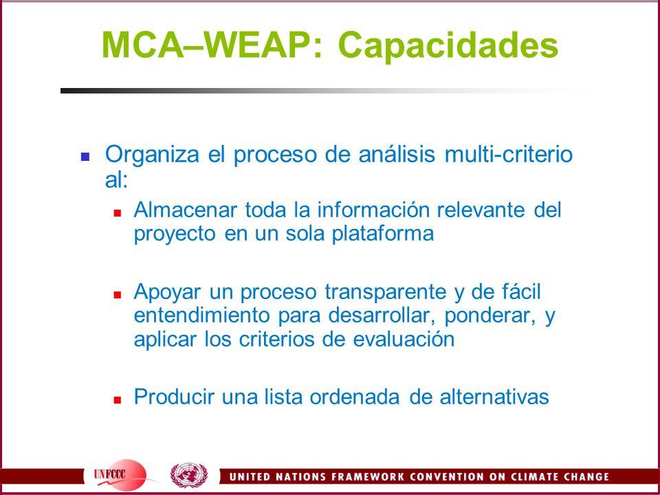 MCA–WEAP: Capacidades Organiza el proceso de análisis multi-criterio al: Almacenar toda la información relevante del proyecto en un sola plataforma Ap