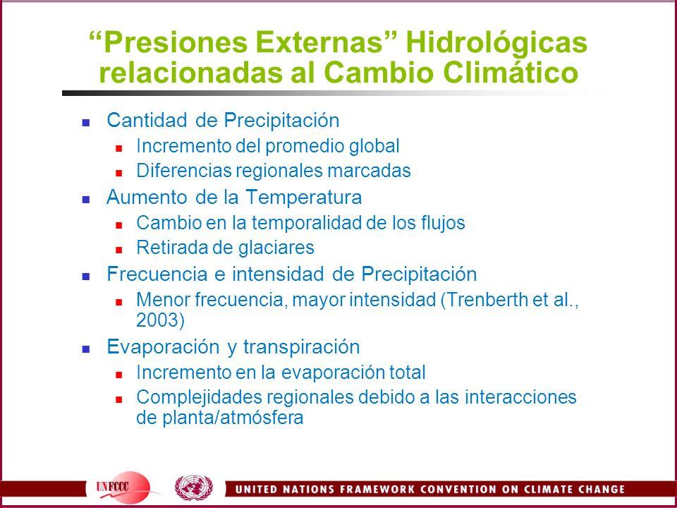 Presiones Externas Hidrológicas relacionadas al Cambio Climático Cantidad de Precipitación Incremento del promedio global Diferencias regionales marca