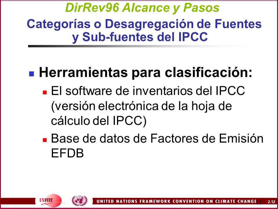 2.12 12 DirRev96 Alcance y Pasos Categorías o Desagregación de Fuentes y Sub-fuentes del IPCC Herramientas para clasificación: El software de inventar