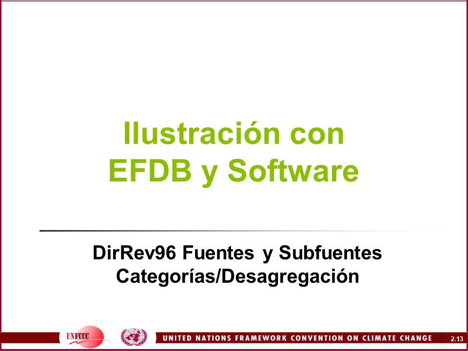2.13 13 Ilustración con EFDB y Software DirRev96 Fuentes y Subfuentes Categorías/Desagregación