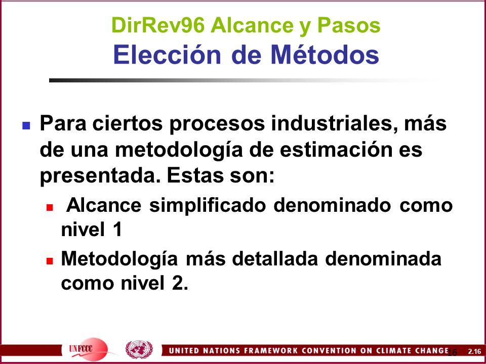 2.16 16 DirRev96 Alcance y Pasos Elección de Métodos Para ciertos procesos industriales, más de una metodología de estimación es presentada. Estas son