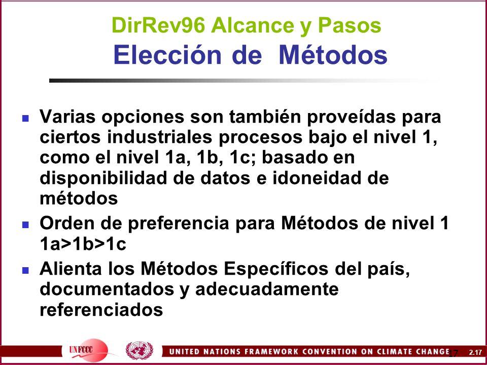 2.17 17 DirRev96 Alcance y Pasos Elección de Métodos Varias opciones son también proveídas para ciertos industriales procesos bajo el nivel 1, como el