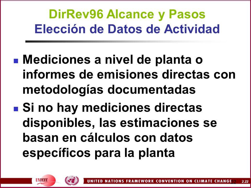 2.22 22 DirRev96 Alcance y Pasos Elección de Datos de Actividad Mediciones a nivel de planta o informes de emisiones directas con metodologías documen