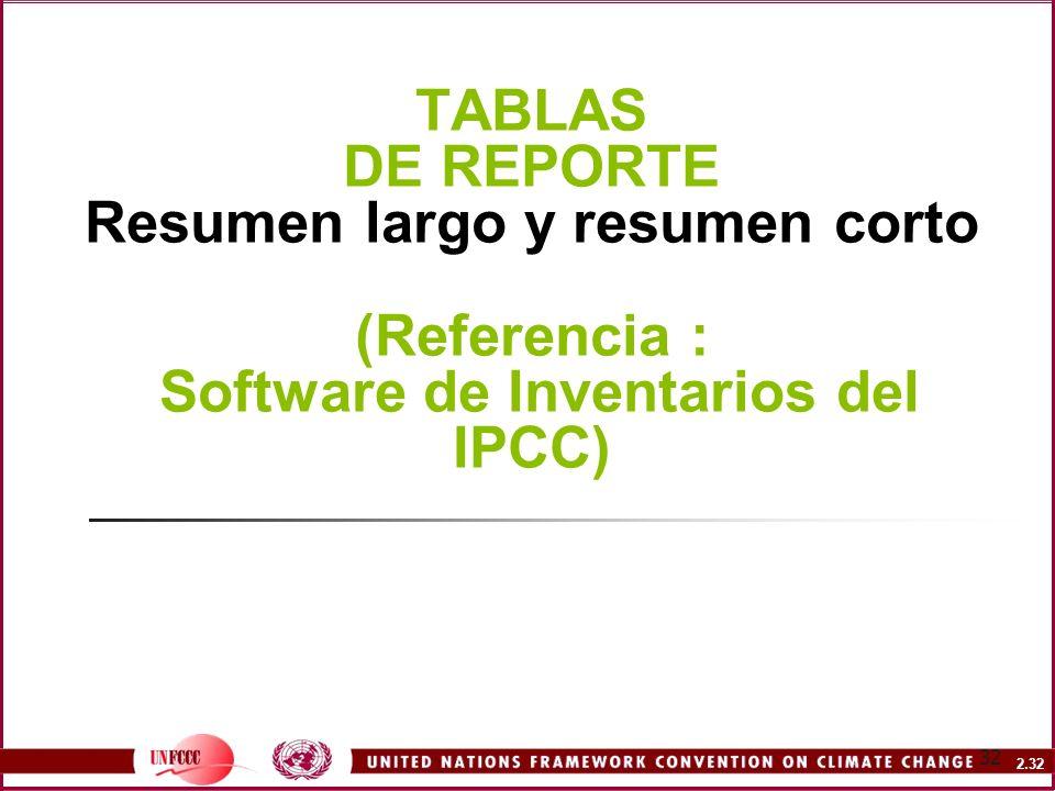 2.32 32 TABLAS DE REPORTE Resumen largo y resumen corto (Referencia : Software de Inventarios del IPCC)