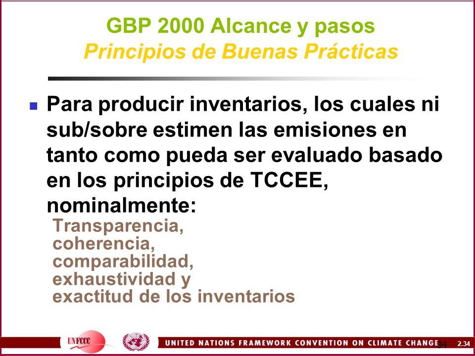 2.34 34 GBP 2000 Alcance y pasos Principios de Buenas Prácticas Para producir inventarios, los cuales ni sub/sobre estimen las emisiones en tanto como