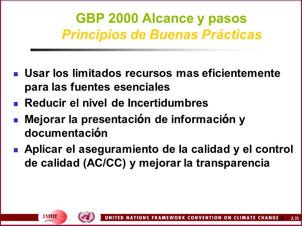 2.35 35 GBP 2000 Alcance y pasos Principios de Buenas Prácticas Usar los limitados recursos mas eficientemente para las fuentes esenciales Reducir el