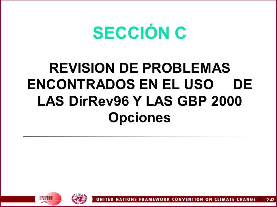 2.42 42 SECCIÓN C REVISION DE PROBLEMAS ENCONTRADOS EN EL USO DE LAS DirRev96 Y LAS GBP 2000 Opciones