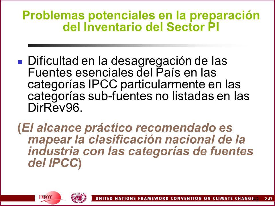 2.43 43 Problemas potenciales en la preparación del Inventario del Sector PI Dificultad en la desagregación de las Fuentes esenciales del País en las