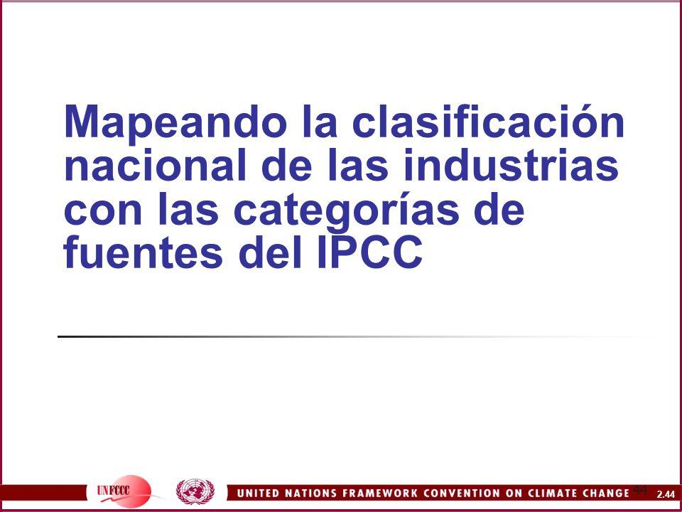 2.44 44 Mapeando la clasificación nacional de las industrias con las categorías de fuentes del IPCC