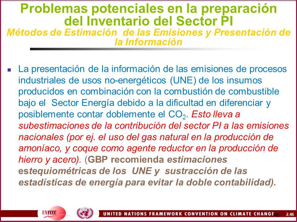2.46 46 Problemas potenciales en la preparación del Inventario del Sector PI Métodos de Estimación de las Emisiones y Presentación de la Información L