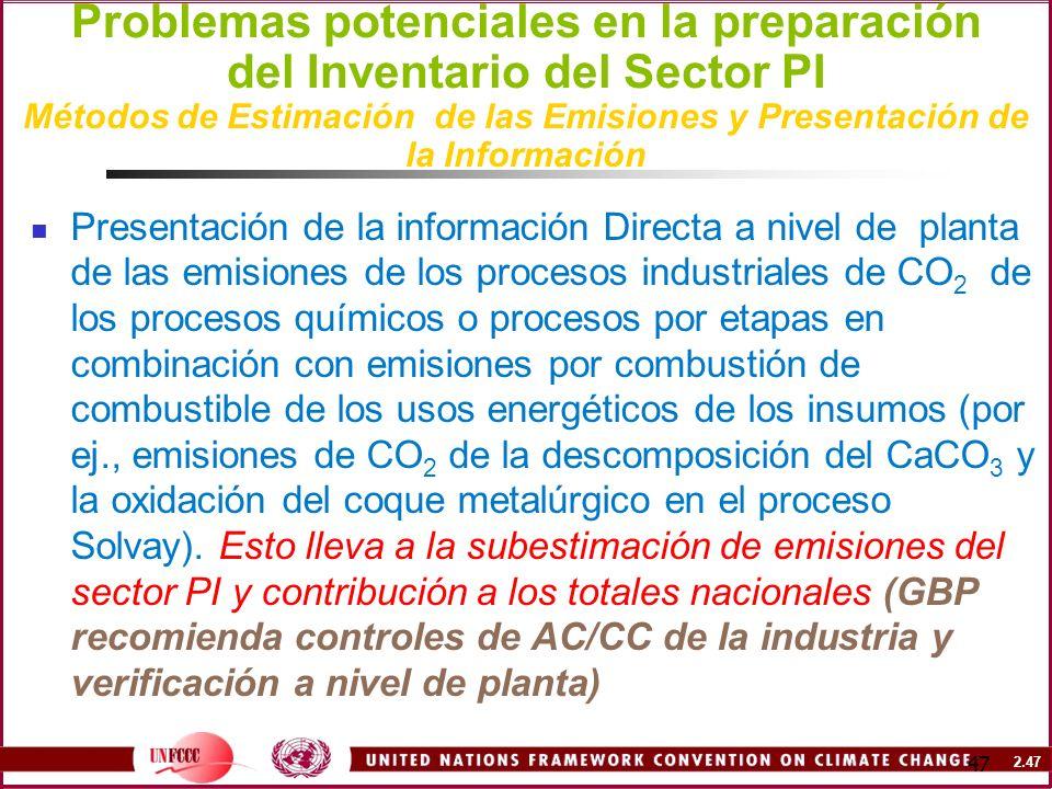2.47 47 Problemas potenciales en la preparación del Inventario del Sector PI Métodos de Estimación de las Emisiones y Presentación de la Información P