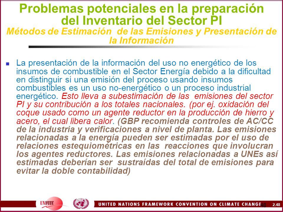 2.48 48 Problemas potenciales en la preparación del Inventario del Sector PI Métodos de Estimación de las Emisiones y Presentación de la Información L