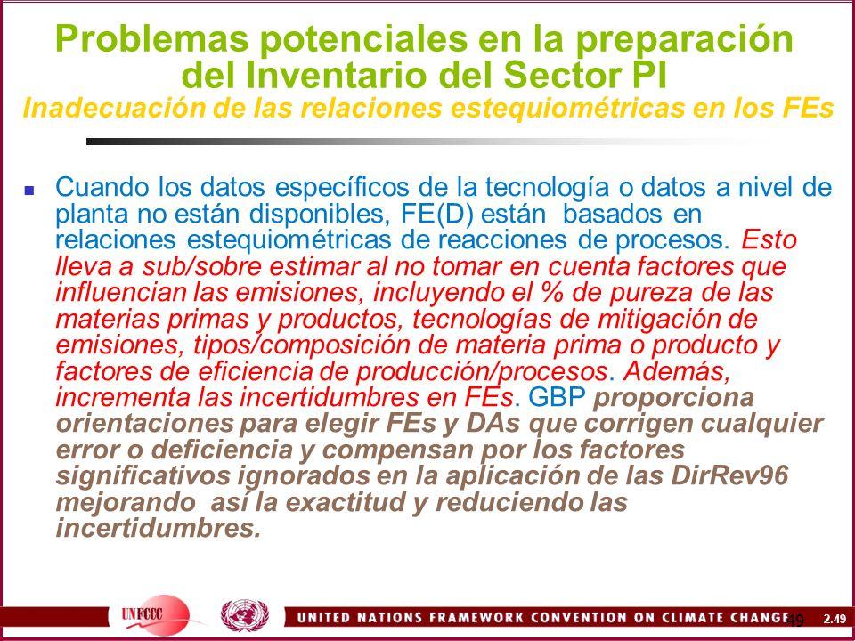 2.49 49 Problemas potenciales en la preparación del Inventario del Sector PI Inadecuación de las relaciones estequiométricas en los FEs Cuando los dat
