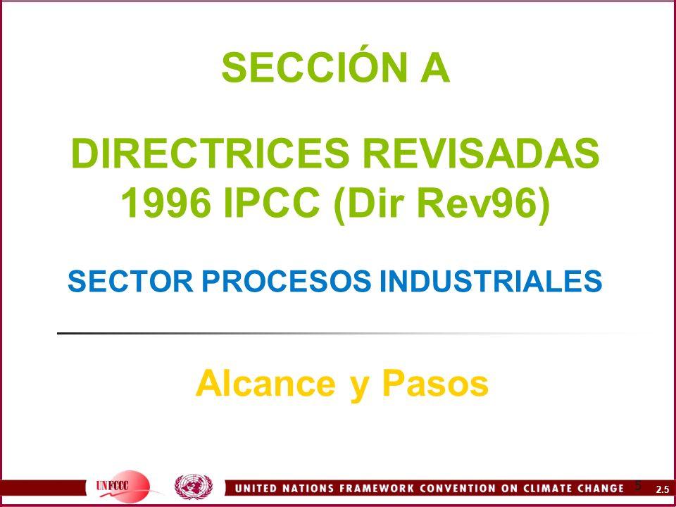 2.6 6 DirRev96 Alcance y Pasos Definición de Actividades del Sector PI Procesos físicos y químicos no relacionados a la energía en actividades de producción conducentes a la transformación de materias primas y emisiones de GEI (por ej.