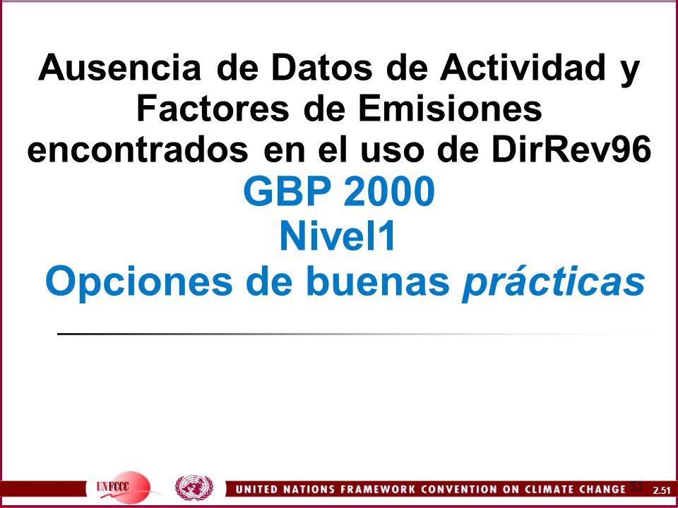 2.51 51 Ausencia de Datos de Actividad y Factores de Emisiones encontrados en el uso de DirRev96 GBP 2000 Nivel1 Opciones de buenas prácticas