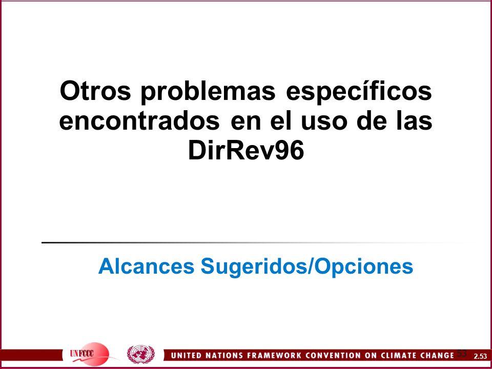 2.53 53 Otros problemas específicos encontrados en el uso de las DirRev96 Alcances Sugeridos/Opciones
