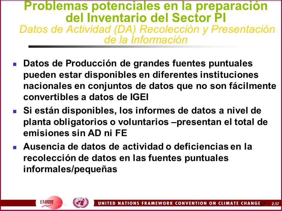 2.57 57 Problemas potenciales en la preparación del Inventario del Sector PI Datos de Actividad (DA) Recolección y Presentación de la Información Dato