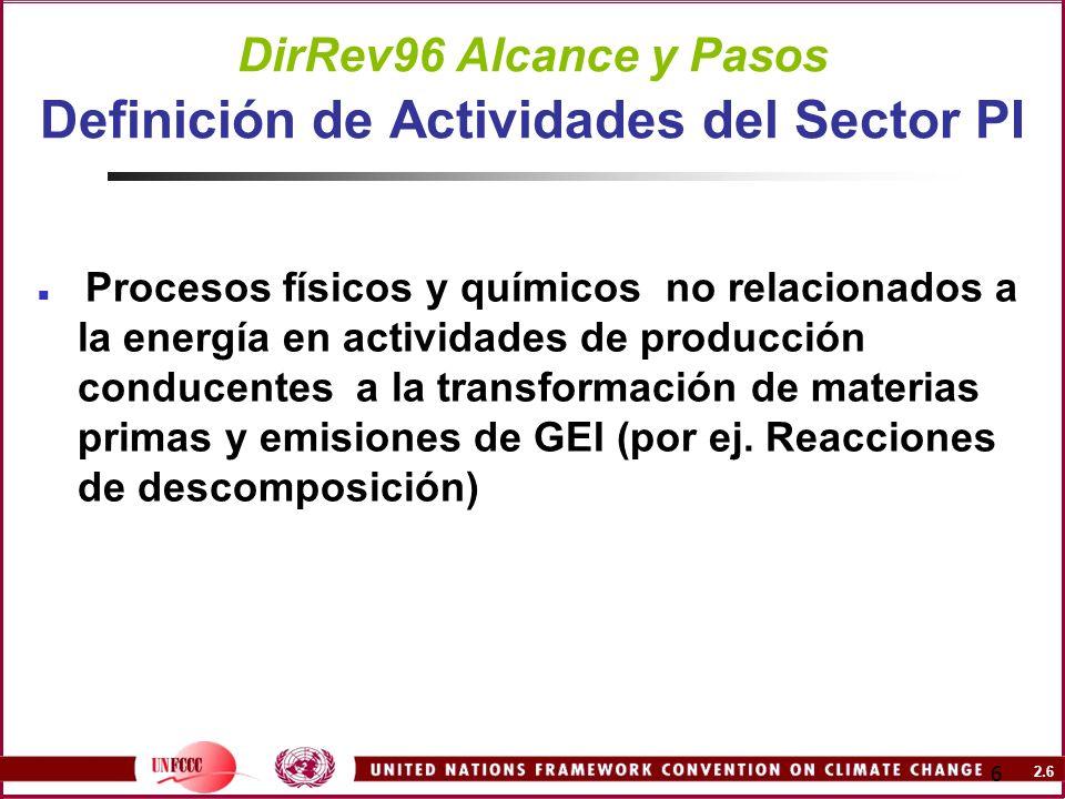 2.6 6 DirRev96 Alcance y Pasos Definición de Actividades del Sector PI Procesos físicos y químicos no relacionados a la energía en actividades de prod