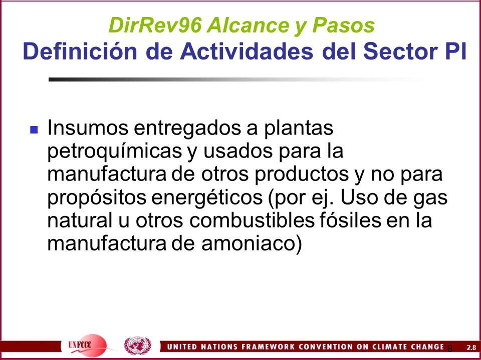 2.9 9 DirRev96 Alcance y Pasos Definición de Actividades del Sector PI Emisiones relacionadas a la Producción NO clasificadas bajo PI pero bajo el sector energía son GEIs emitidos por la combustión del combustible de insumo en las actividades de producción como fuentes de energía/ forma de energía (por ej.