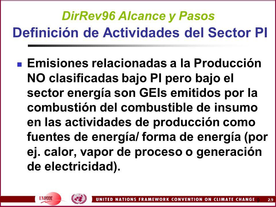 2.9 9 DirRev96 Alcance y Pasos Definición de Actividades del Sector PI Emisiones relacionadas a la Producción NO clasificadas bajo PI pero bajo el sec