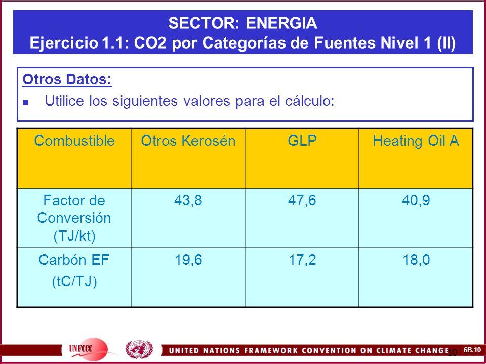 6B.10 10 SECTOR: ENERGIA Ejercicio 1.1: CO2 por Categorías de Fuentes Nivel 1 (II) Otros Datos: Utilice los siguientes valores para el cálculo: Combus