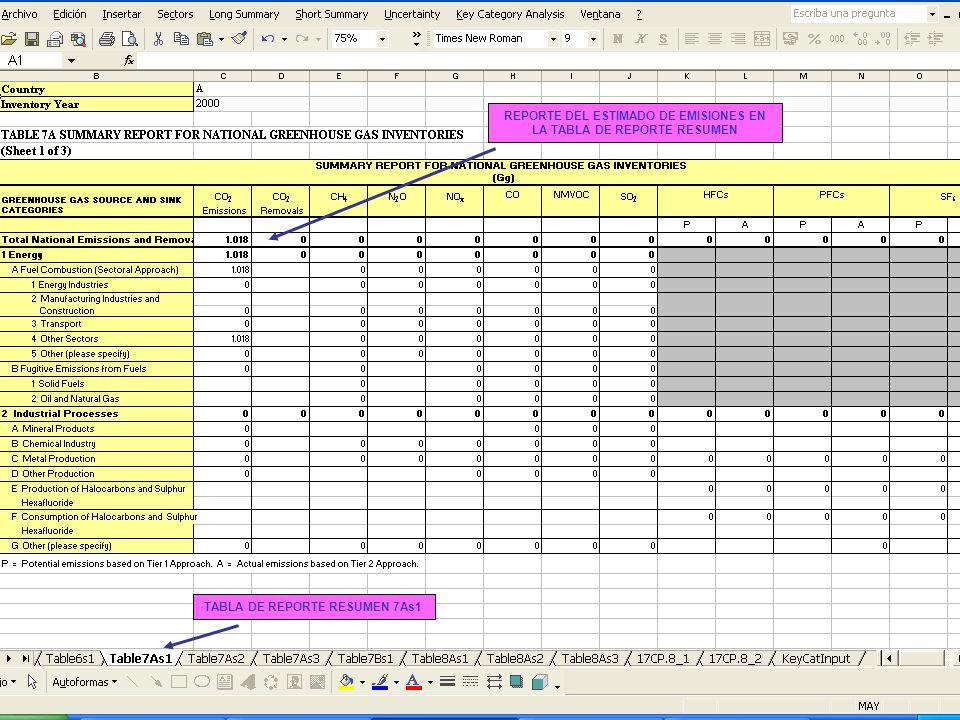 6B.17 17 REPORTE DEL ESTIMADO DE EMISIONES EN LA TABLA DE REPORTE RESUMEN TABLA DE REPORTE RESUMEN 7As1