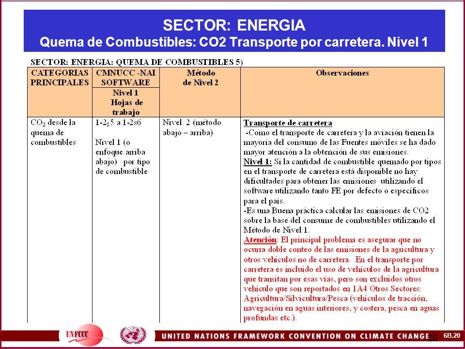 6B.20 20 SECTOR: ENERGIA Quema de Combustibles: CO2 Transporte por carretera. Nivel 1