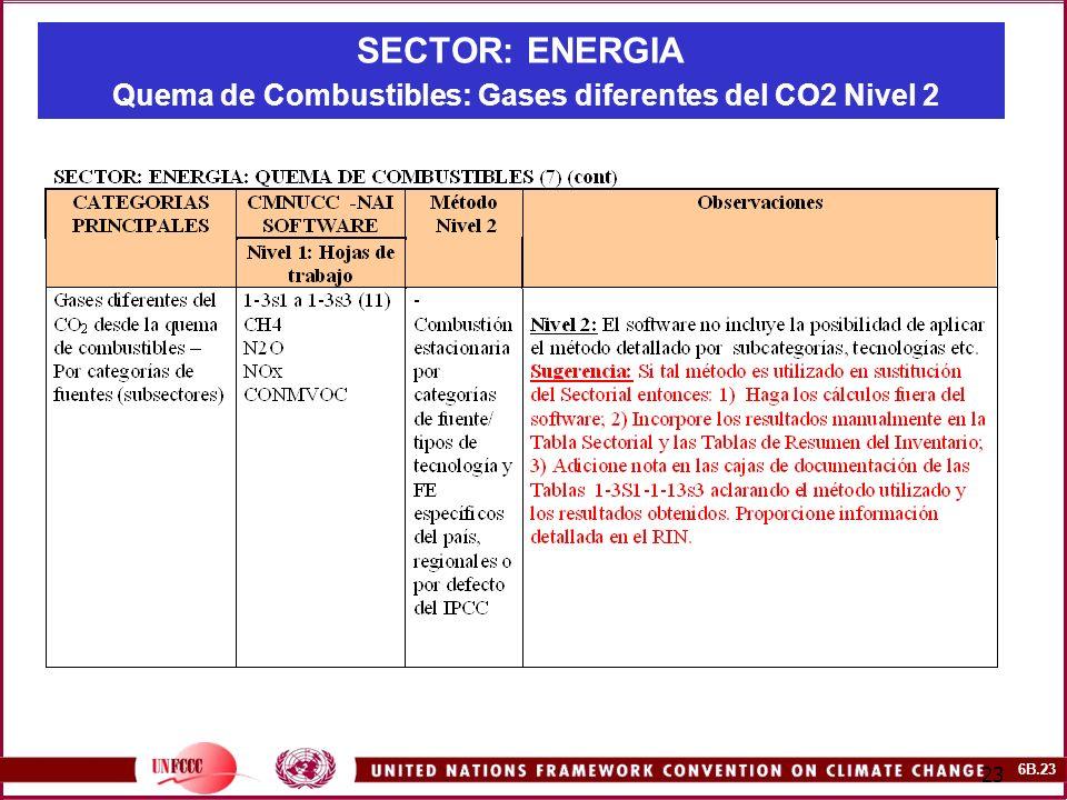 6B.23 23 SECTOR: ENERGIA Quema de Combustibles: Gases diferentes del CO2 Nivel 2