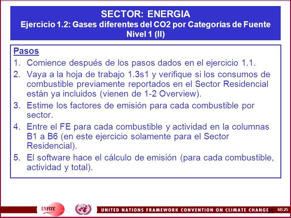 6B.25 25 SECTOR: ENERGIA Ejercicio 1.2: Gases diferentes del CO2 por Categorías de Fuente Nivel 1 (II) Pasos 1.Comience después de los pasos dados en