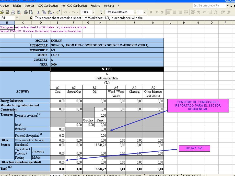 6B.27 27 CONSUMO DE COMBUSTIBLE REPORTADO PARA EL SECTOR RESIDENCIAL HOJA 1-3s1
