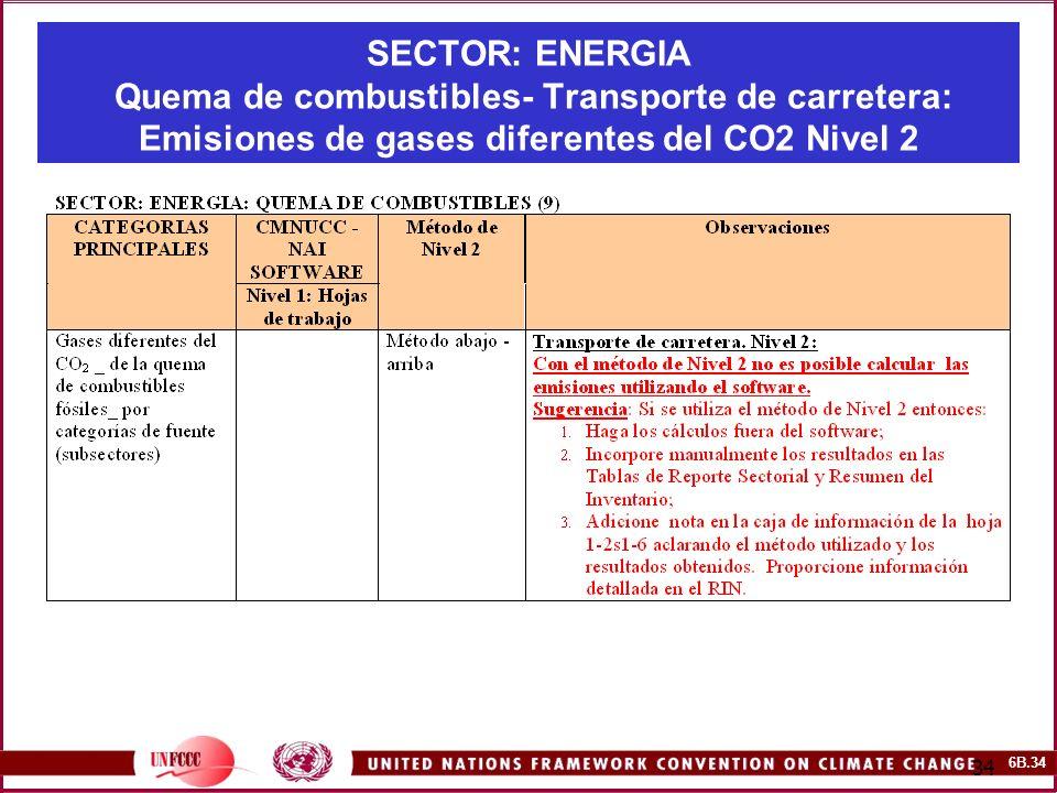 6B.34 34 SECTOR: ENERGIA Quema de combustibles- Transporte de carretera: Emisiones de gases diferentes del CO2 Nivel 2