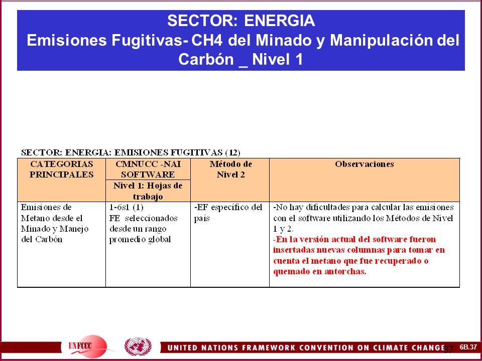 6B.37 37 SECTOR: ENERGIA Emisiones Fugitivas- CH4 del Minado y Manipulación del Carbón _ Nivel 1