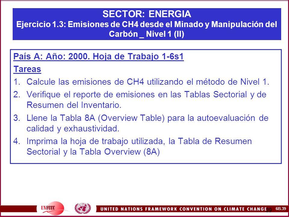 6B.39 39 SECTOR: ENERGIA Ejercicio 1.3: Emisiones de CH4 desde el Minado y Manipulación del Carbón _ Nivel 1 (II) País A: Año: 2000. Hoja de Trabajo 1