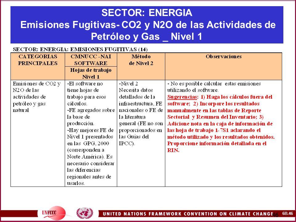 6B.46 46 SECTOR: ENERGIA Emisiones Fugitivas- CO2 y N2O de las Actividades de Petróleo y Gas _ Nivel 1