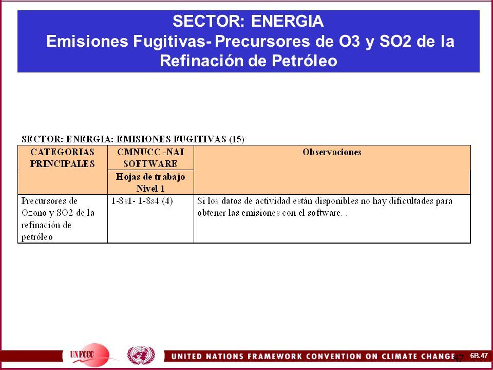 6B.47 47 SECTOR: ENERGIA Emisiones Fugitivas- Precursores de O3 y SO2 de la Refinación de Petróleo