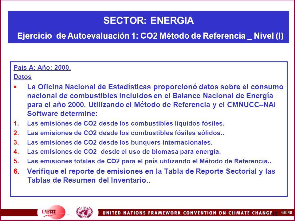 6B.48 48 SECTOR: ENERGIA Ejercicio de Autoevaluación 1: CO2 Método de Referencia _ Nivel (I) País A: Año: 2000. Datos La Oficina Nacional de Estadísti