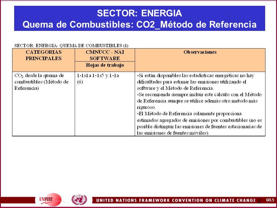 6B.5 5 SECTOR: ENERGIA Quema de Combustibles: CO2_Método de Referencia