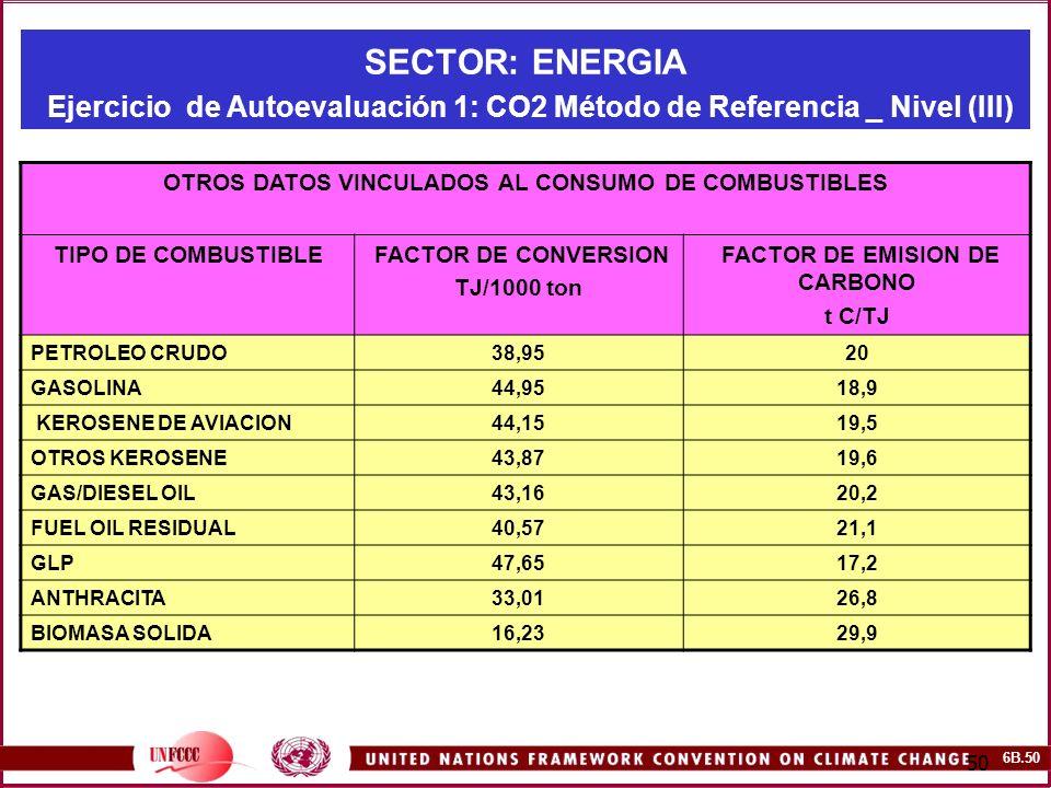 6B.50 50 SECTOR: ENERGIA Ejercicio de Autoevaluación 1: CO2 Método de Referencia _ Nivel (III) OTROS DATOS VINCULADOS AL CONSUMO DE COMBUSTIBLES TIPO