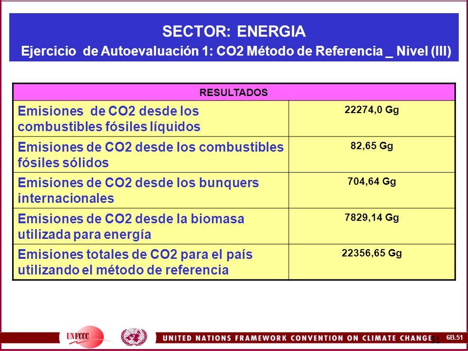 6B.51 51 SECTOR: ENERGIA Ejercicio de Autoevaluación 1: CO2 Método de Referencia _ Nivel (III) RESULTADOS Emisiones de CO2 desde los combustibles fósi