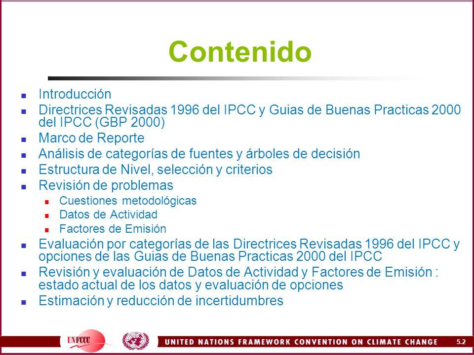 5.103 Problemas de los factores de emisión Valores por defecto inapropiados dados en las Directrices 1996 del IPCC Datos por defecto inadecuados para las circunstancias nacionales Falta de FE a nivel desagregado Falta de disponibilidad de Factores de Conversión de Metano (FCM) para ciertas regiones NAI Baja confiabilidad y alta incertidumbre de datos Falta de FE para Incineración de Residuos las Directrices 1996 del IPCC (cubierta por la GBP 2000) Datos por defecto provistos comúnmente para valores superiores, lo que conduce a la sobreestimación