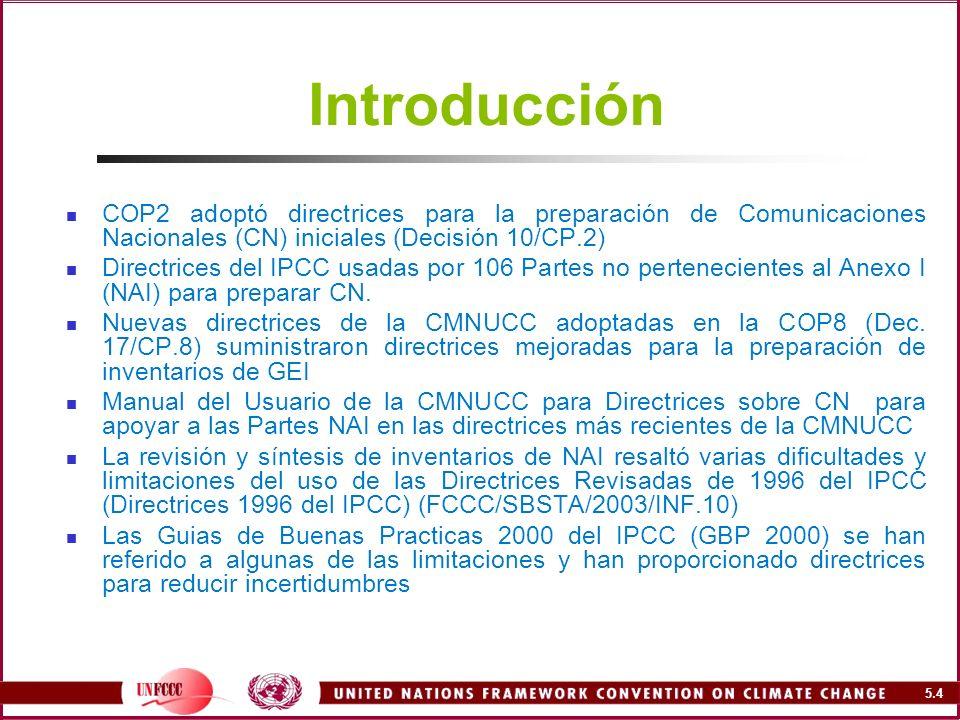 5.5 Propósito del Manual Los inventarios de GEI en la mayoría de los sectores biológicos tales como Residuos están caracterizados por: limitaciones metodologicas falta de datos o baja confiabilidad de datos existentes alta incertidumbre El manual apunta a ayudar a las Partes NAI en la preparación de inventarios de GEI usando las Directrices 1996, particularmente en el contexto de la decisión 17/CP.8 de la CMNUCC, enfocada a; La necesidad de avanzar hacia la GBP 2000 y niveles/métodos más altos para reducir la incertidumbre Completar la descripción de los instrumentos y métodos Uso del software de inventarios del IPCC y la BDFE Revisión de las opciones de DA y FE para reducir la incertidumbre Uso de fuentes claves, metodologías y árboles de decisión