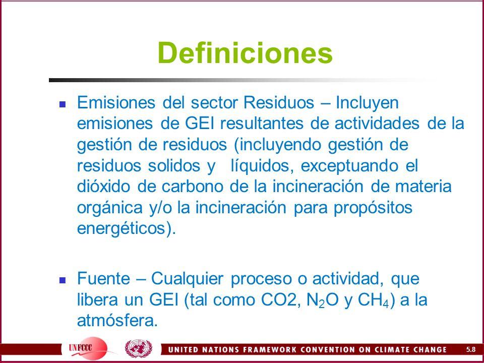 5.79 Factores de emisión y datos de actividad para dióxido de carbono El contenido de C crece, de lodos de aguas residuales (30%) a residuos municipales (40%), peligrosos (50%) y clínicos (60%) Se asume que hay muy poco carbono fósil en los lodos de aguas residuales (0%), mayor contenido en residuos clínicos y municipales (40%) y muy alto en residuos peligrosos (90%) La eficiencia de combustión es 95% para todos los flujos, excepto para los peligrosos que se considera de 99.5%
