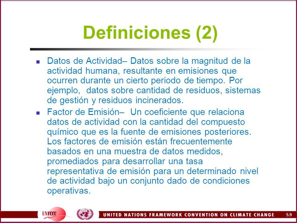 5.70 Emisiones del tratamiento de aguas residuales industriales Método simplificado : Determinar las industrias relevantes (vino, cerveza, alimentos, papel, etc.) Estimar flujos resulatntes de aguas residuales (por tonelada de producto o por defecto) Estimar la concentración de DBO 5 (o por defecto) Estimar la fracción tratada Estimar el factor de emisión de metano (por defecto 0.22 Gg CH 4 /Gg DBO ) Sustraer cualquier metano recuperado