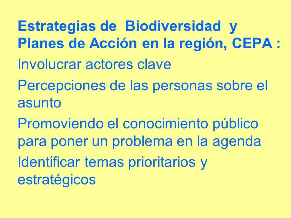Estrategias de Biodiversidad y Planes de Acción en la región, CEPA : Involucrar actores clave Percepciones de las personas sobre el asunto Promoviendo