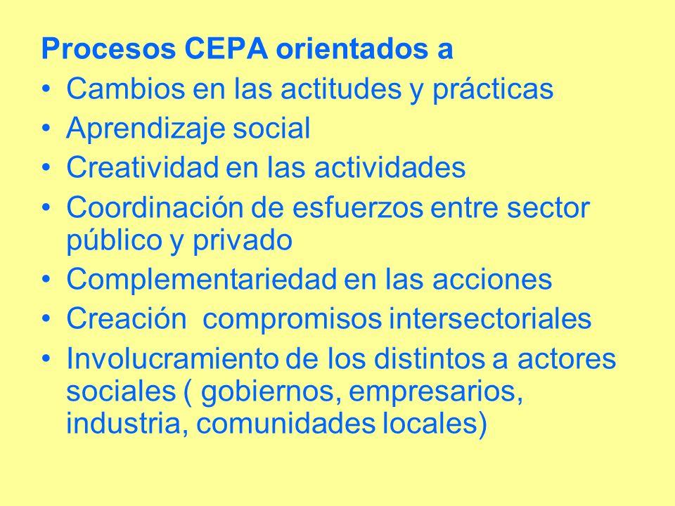 Procesos CEPA orientados a Cambios en las actitudes y prácticas Aprendizaje social Creatividad en las actividades Coordinación de esfuerzos entre sect