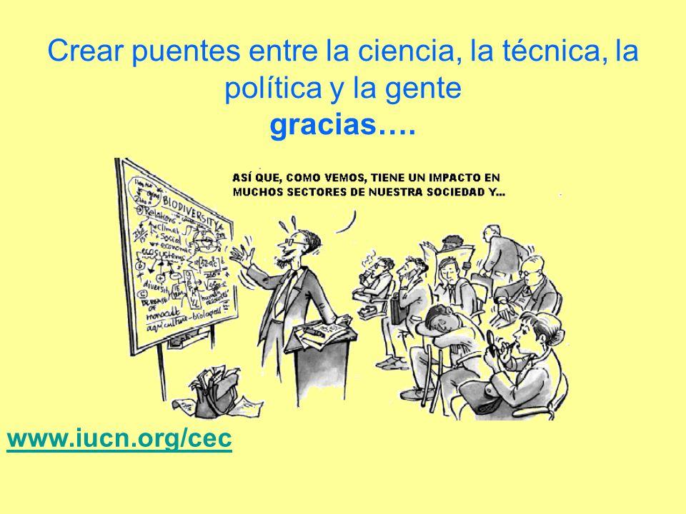 Crear puentes entre la ciencia, la técnica, la política y la gente gracias…. www.iucn.org/cec